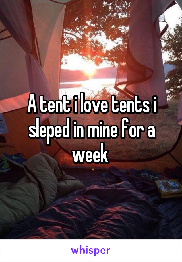 A tent i love tents i sleped in mine for a week