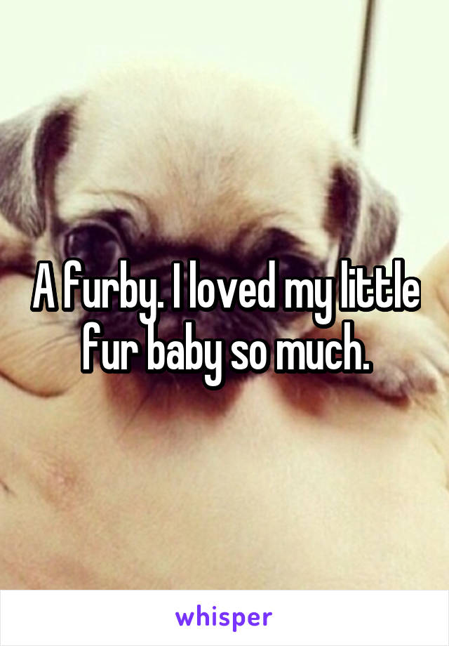 A furby. I loved my little fur baby so much.
