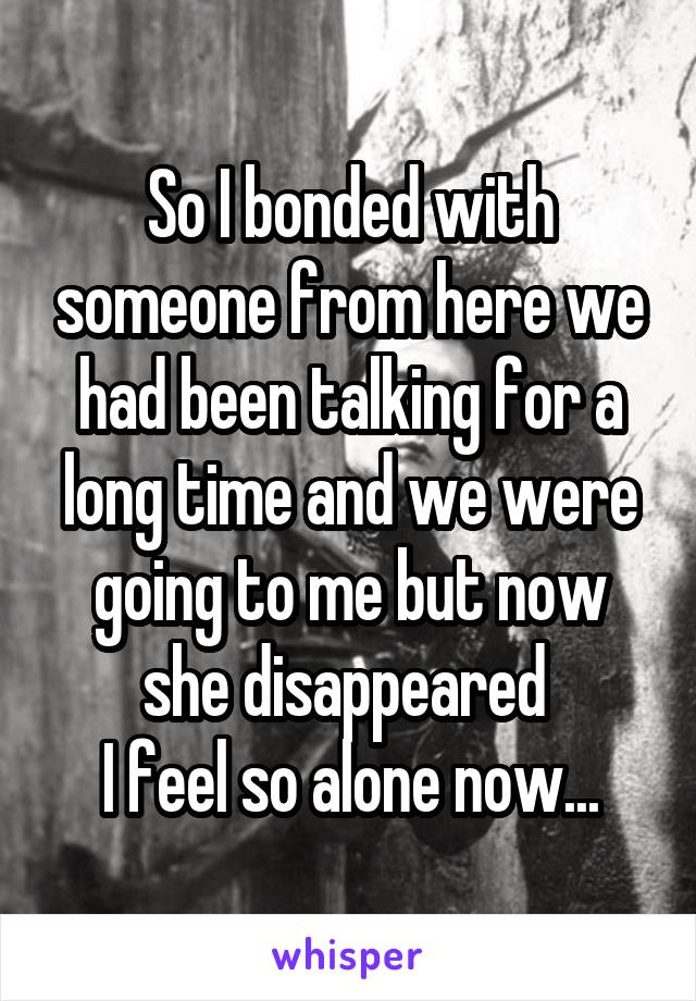 So I bonded with someone from here we had been talking for a long time and we were going to me but now she disappeared  I feel so alone now...