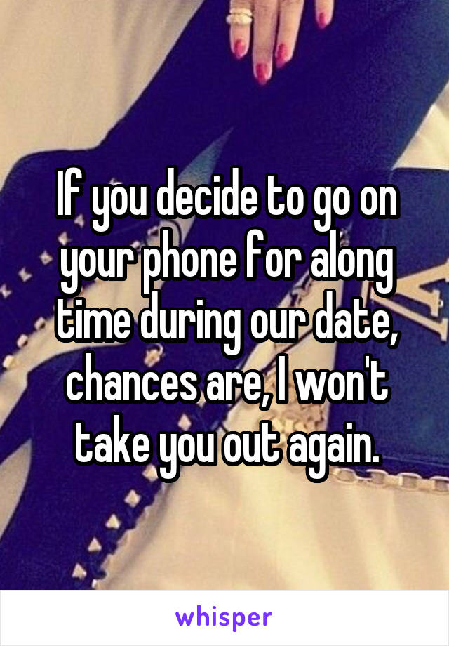 If you decide to go on your phone for along time during our date, chances are, I won't take you out again.