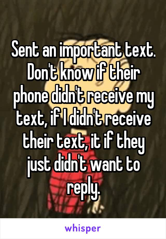 Sent an important text. Don't know if their phone didn't receive my text, if I didn't receive their text, it if they just didn't want to reply.