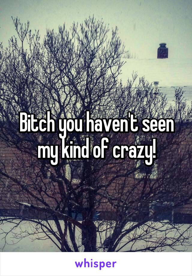 Bitch you haven't seen my kind of crazy!