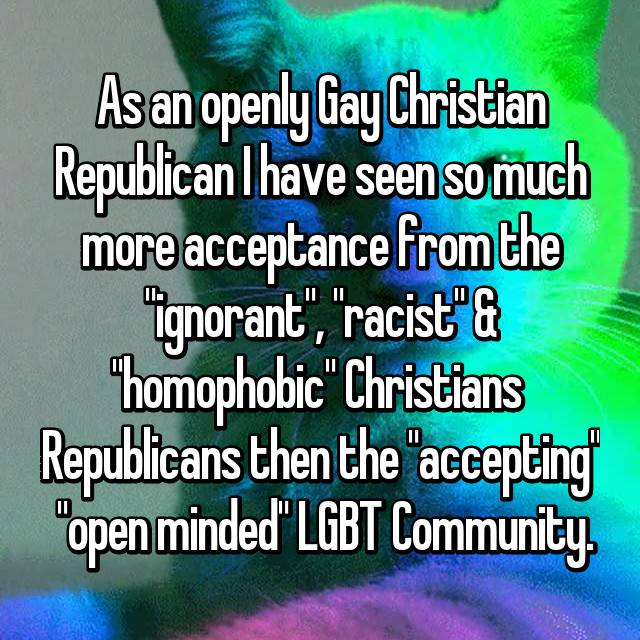"""As an openly Gay Christian Republican I have seen so much more acceptance from the """"ignorant"""", """"racist"""" & """"homophobic"""" Christians  Republicans then the """"accepting""""  """"open minded"""" LGBT Community."""