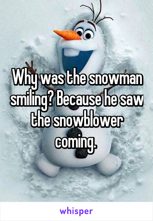 Why was the snowman smiling? Because he saw the snowblower coming.