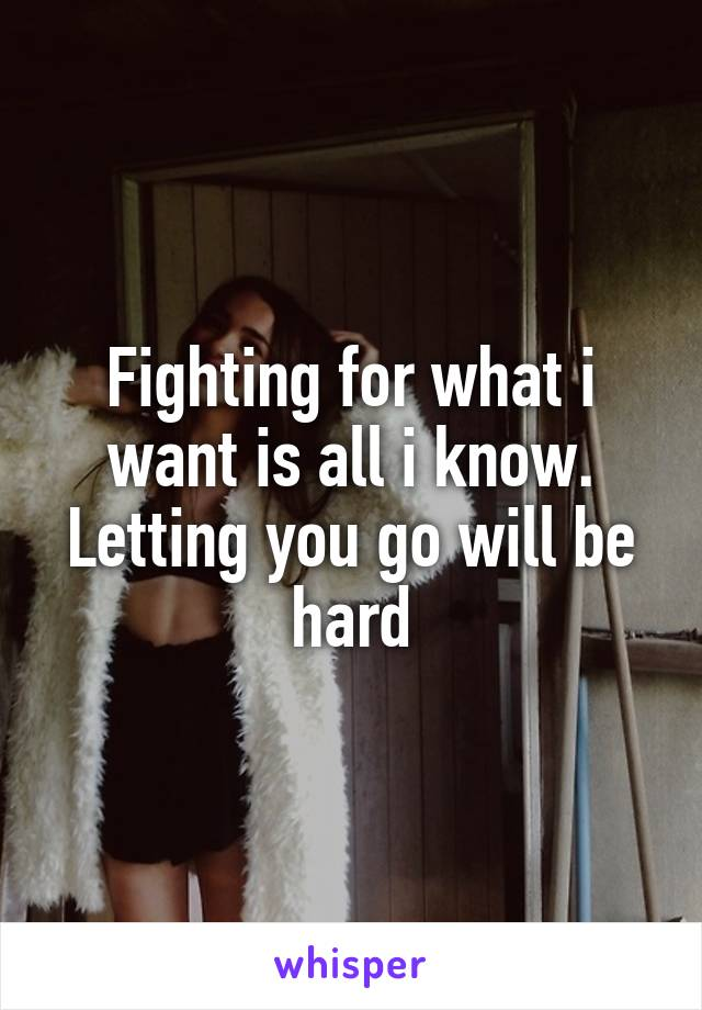 Fighting for what i want is all i know. Letting you go will be hard