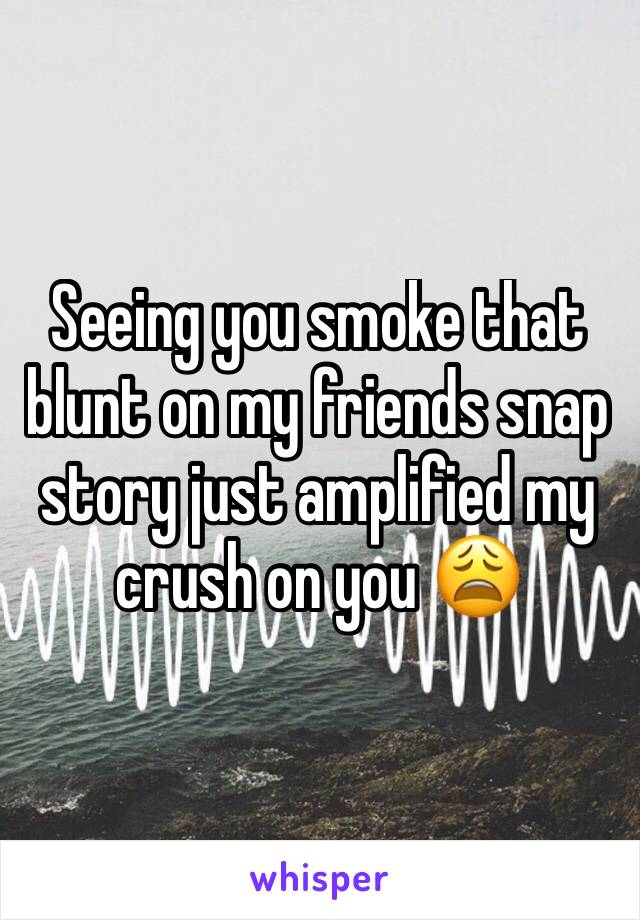 Seeing you smoke that blunt on my friends snap story just amplified my crush on you 😩