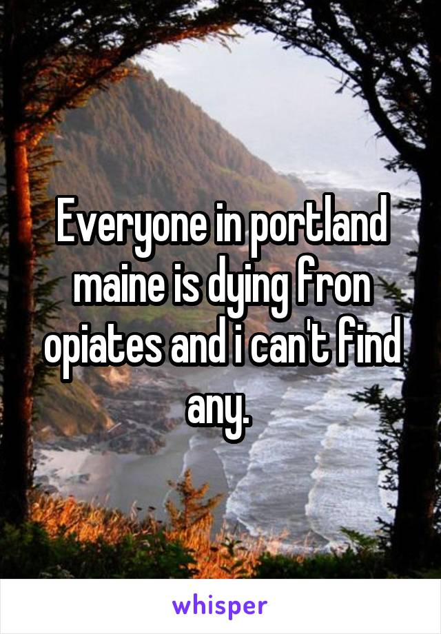 Everyone in portland maine is dying fron opiates and i can't find any.