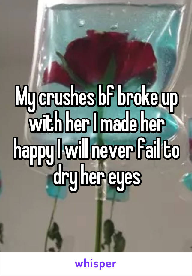 My crushes bf broke up with her I made her happy I will never fail to dry her eyes