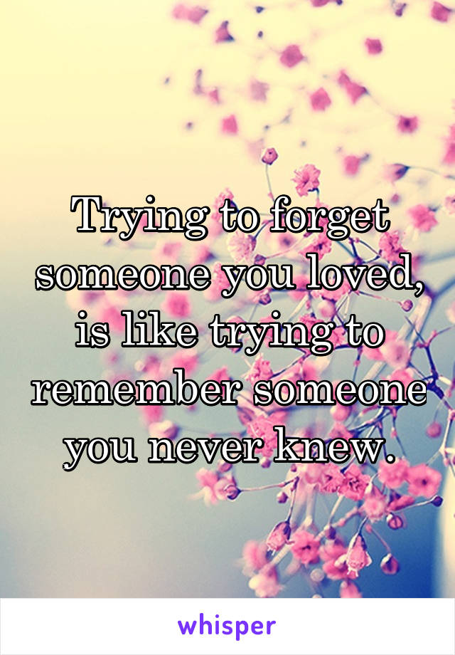 Trying to forget someone you loved, is like trying to remember someone you never knew.