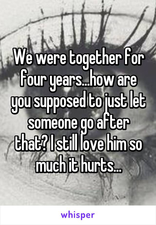 We were together for four years...how are you supposed to just let someone go after that? I still love him so much it hurts...
