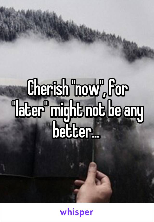 """Cherish """"now"""", for """"later"""" might not be any better..."""