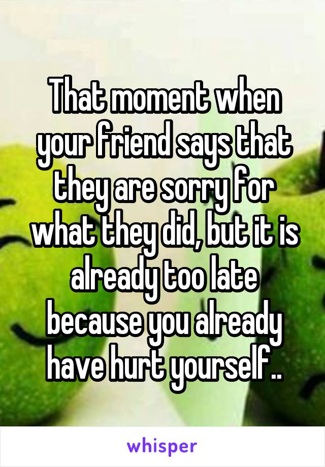 That moment when your friend says that they are sorry for what they did, but it is already too late because you already have hurt yourself..