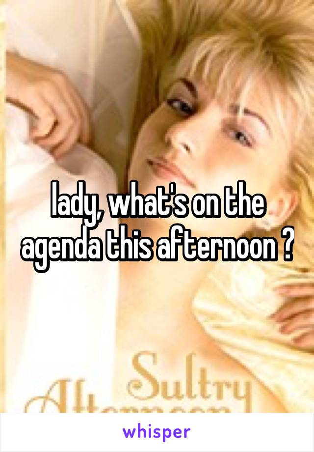 lady, what's on the agenda this afternoon ?