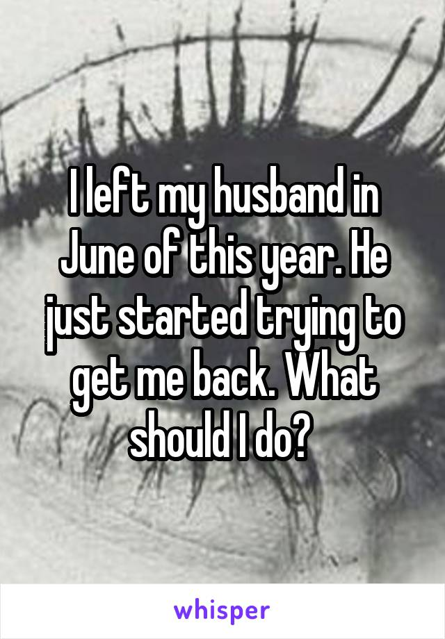 I left my husband in June of this year. He just started trying to get me back. What should I do?