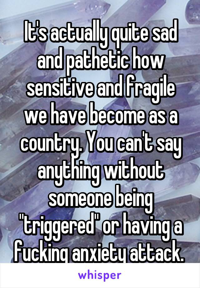 "It's actually quite sad and pathetic how sensitive and fragile we have become as a country. You can't say anything without someone being ""triggered"" or having a fucking anxiety attack."