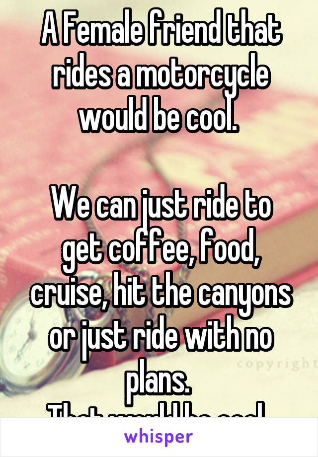 A Female friend that rides a motorcycle would be cool.   We can just ride to get coffee, food, cruise, hit the canyons or just ride with no plans.  That would be cool.