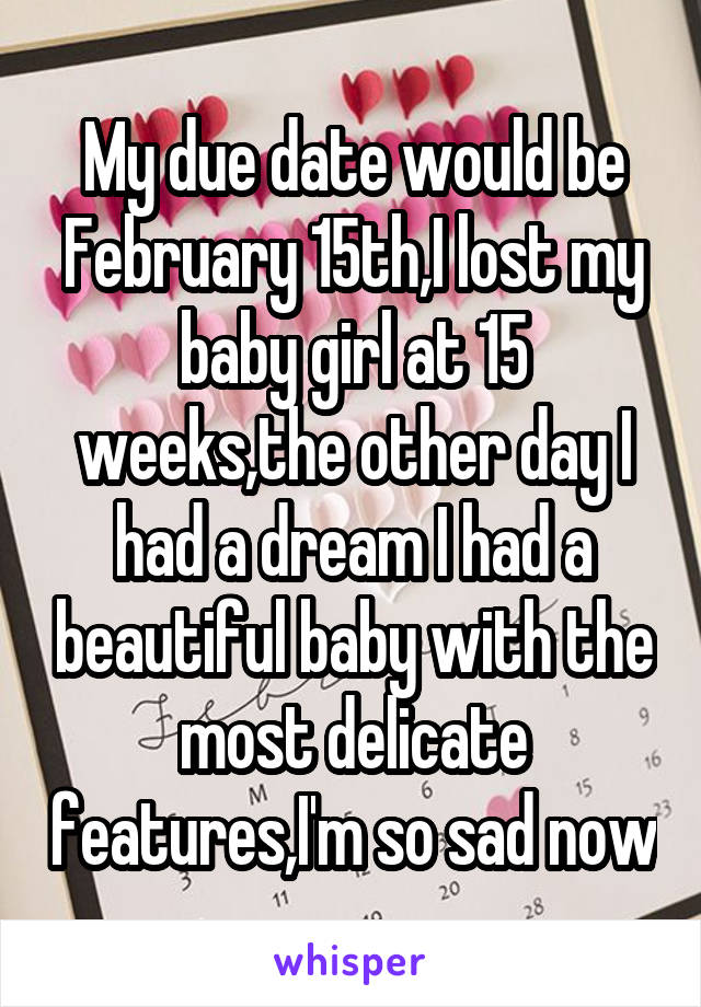 My due date would be February 15th,I lost my baby girl at 15 weeks,the other day I had a dream I had a beautiful baby with the most delicate features,I'm so sad now