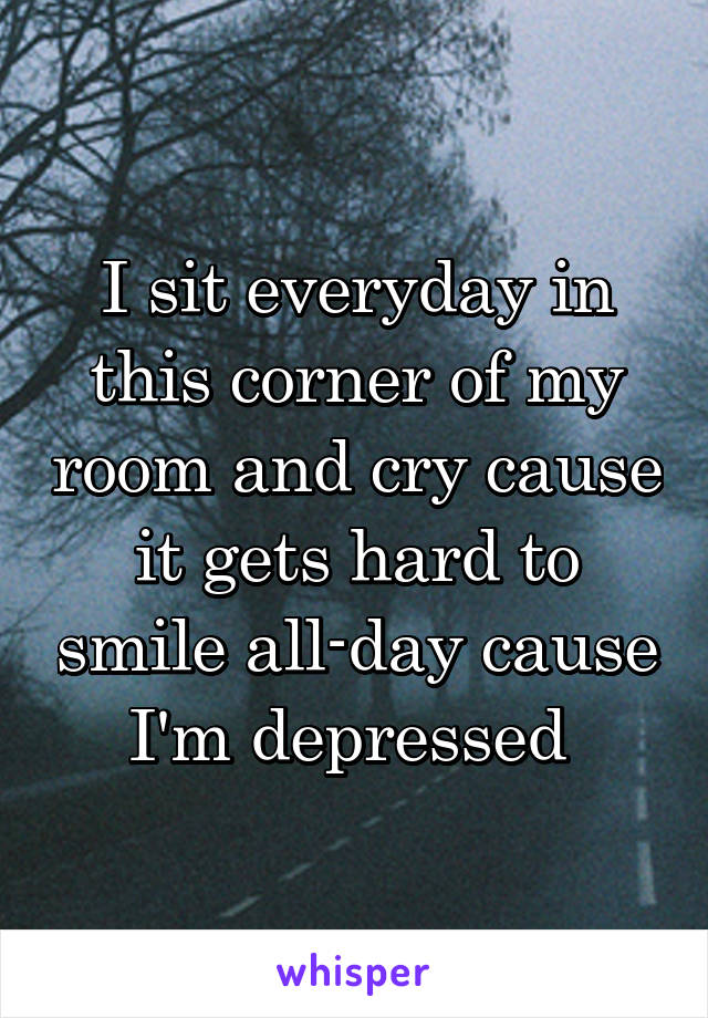 I sit everyday in this corner of my room and cry cause it gets hard to smile all-day cause I'm depressed