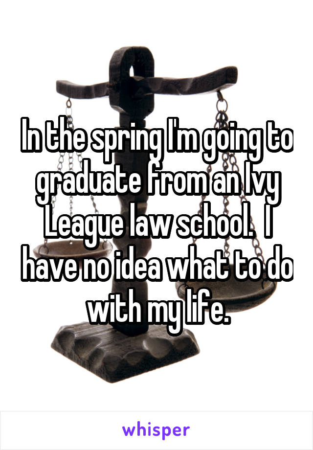 In the spring I'm going to graduate from an Ivy League law school.  I have no idea what to do with my life.