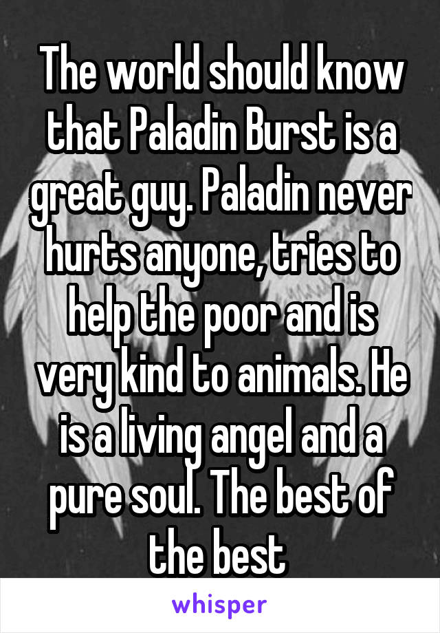The world should know that Paladin Burst is a great guy. Paladin never hurts anyone, tries to help the poor and is very kind to animals. He is a living angel and a pure soul. The best of the best