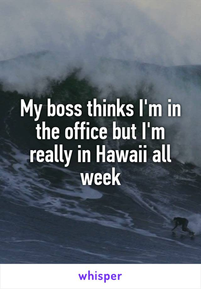 My boss thinks I'm in the office but I'm really in Hawaii all week