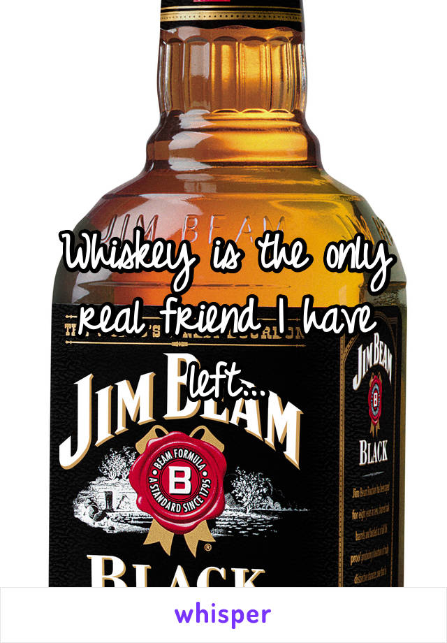 Whiskey is the only real friend I have left...
