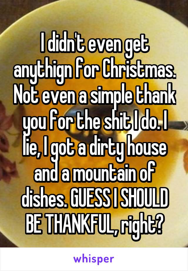 I didn't even get anythign for Christmas. Not even a simple thank you for the shit I do. I lie, I got a dirty house and a mountain of dishes. GUESS I SHOULD BE THANKFUL, right?