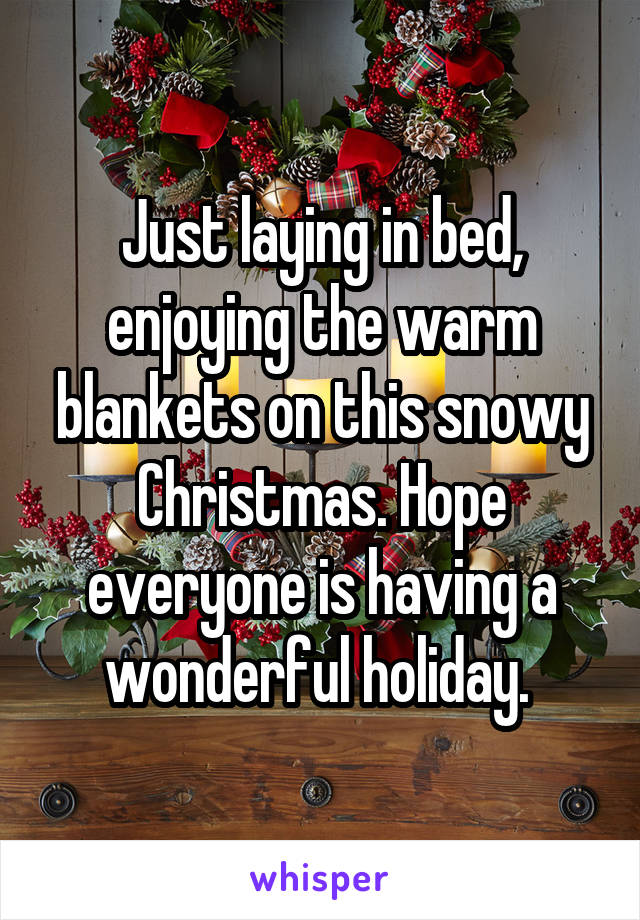 Just laying in bed, enjoying the warm blankets on this snowy Christmas. Hope everyone is having a wonderful holiday.