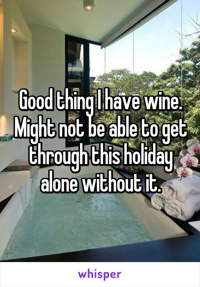 Good thing I have wine. Might not be able to get through this holiday alone without it.