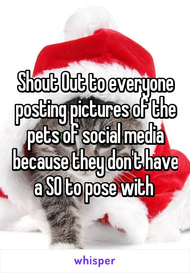 Shout Out to everyone posting pictures of the pets of social media because they don't have a SO to pose with