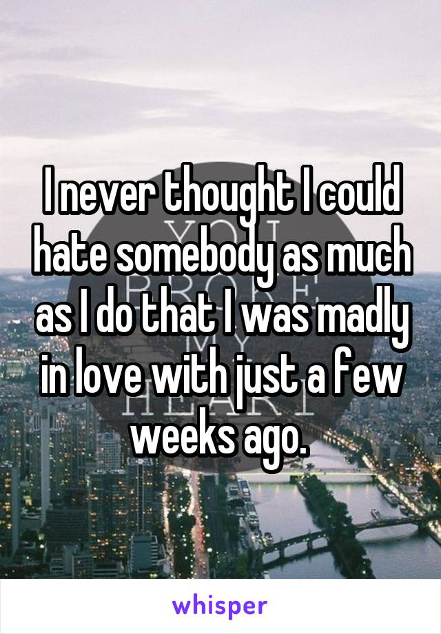 I never thought I could hate somebody as much as I do that I was madly in love with just a few weeks ago.