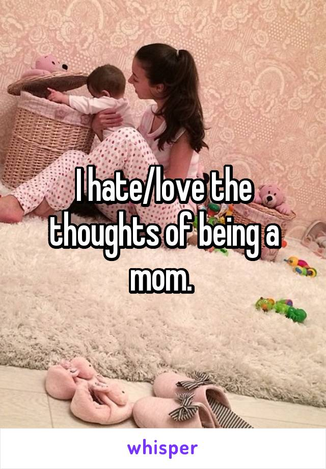 I hate/love the thoughts of being a mom.
