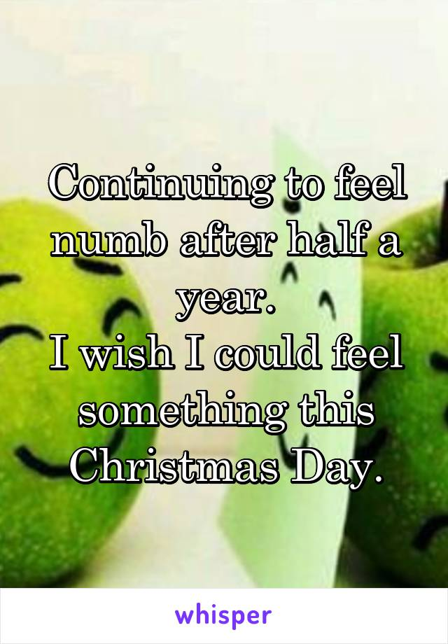 Continuing to feel numb after half a year. I wish I could feel something this Christmas Day.