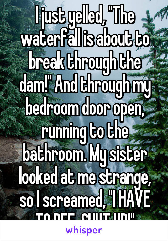 "I just yelled, ""The waterfall is about to break through the dam!"" And through my bedroom door open, running to the bathroom. My sister looked at me strange, so I screamed, ""I HAVE TO PEE, SHUT UP!"""