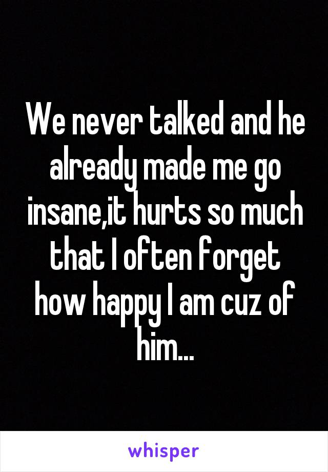 We never talked and he already made me go insane,it hurts so much that I often forget how happy I am cuz of him...