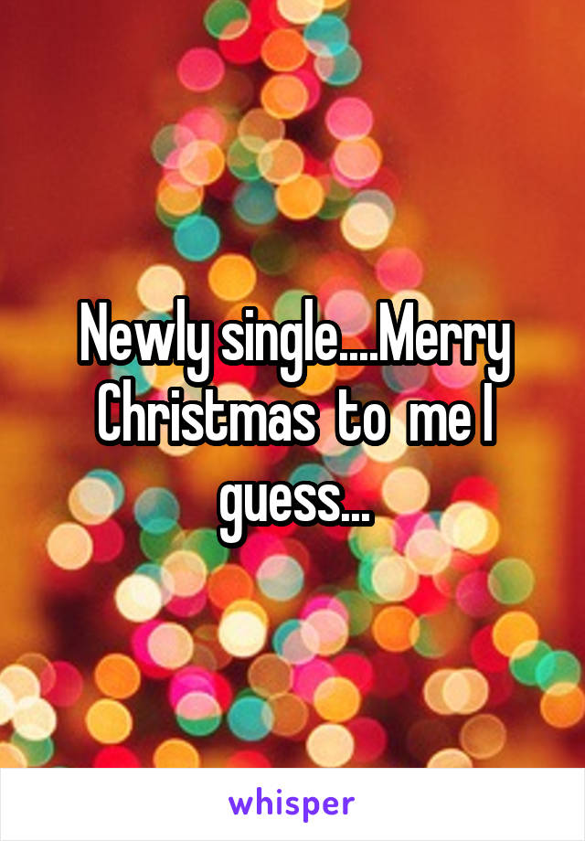 Newly single....Merry Christmas  to  me I guess...