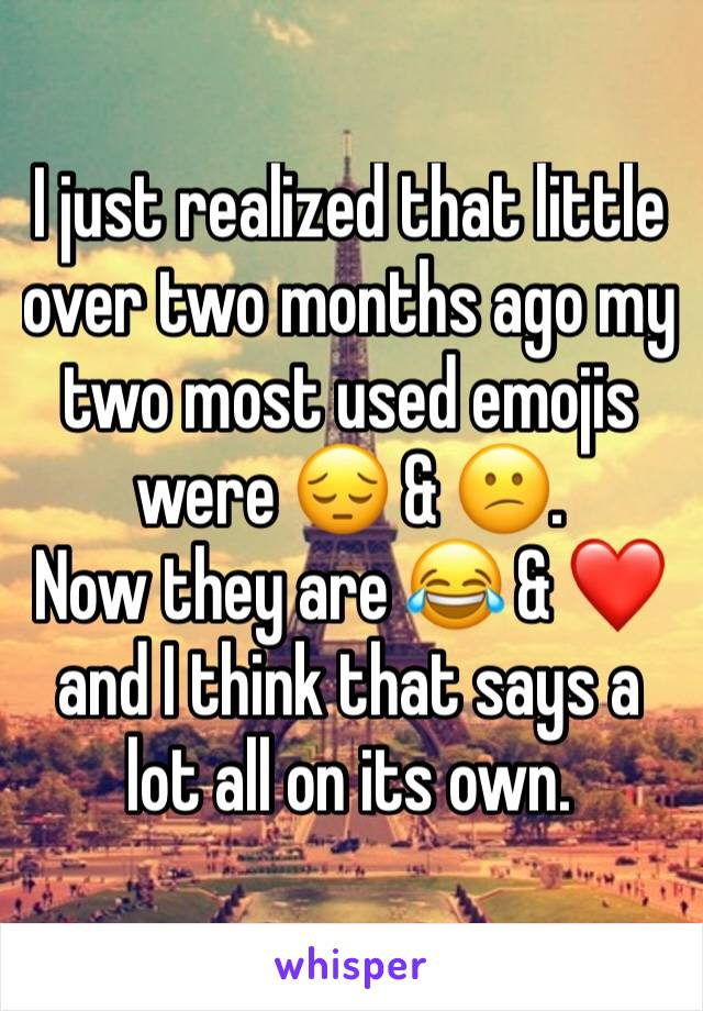 I just realized that little over two months ago my two most used emojis were 😔 & 😕. Now they are 😂 & ❤ and I think that says a lot all on its own.
