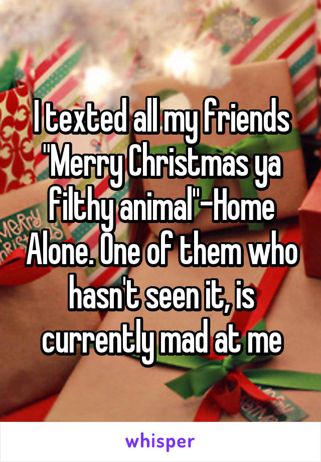 "I texted all my friends ""Merry Christmas ya filthy animal""-Home Alone. One of them who hasn't seen it, is currently mad at me"