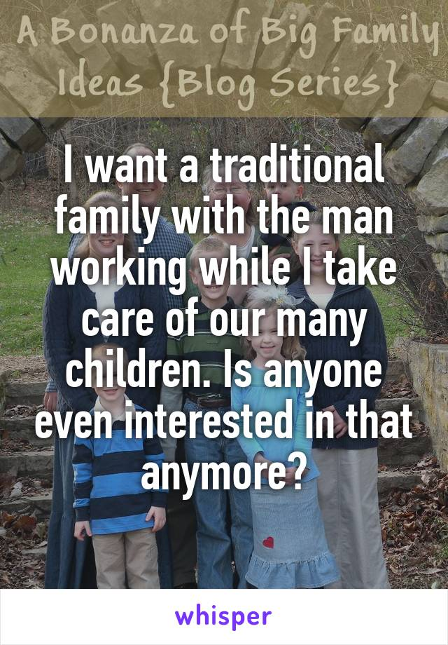 I want a traditional family with the man working while I take care of our many children. Is anyone even interested in that anymore?
