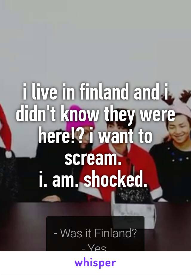 i live in finland and i didn't know they were here!? i want to scream.  i. am. shocked.