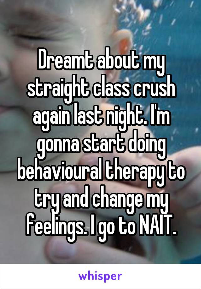 Dreamt about my straight class crush again last night. I'm gonna start doing behavioural therapy to try and change my feelings. I go to NAIT.