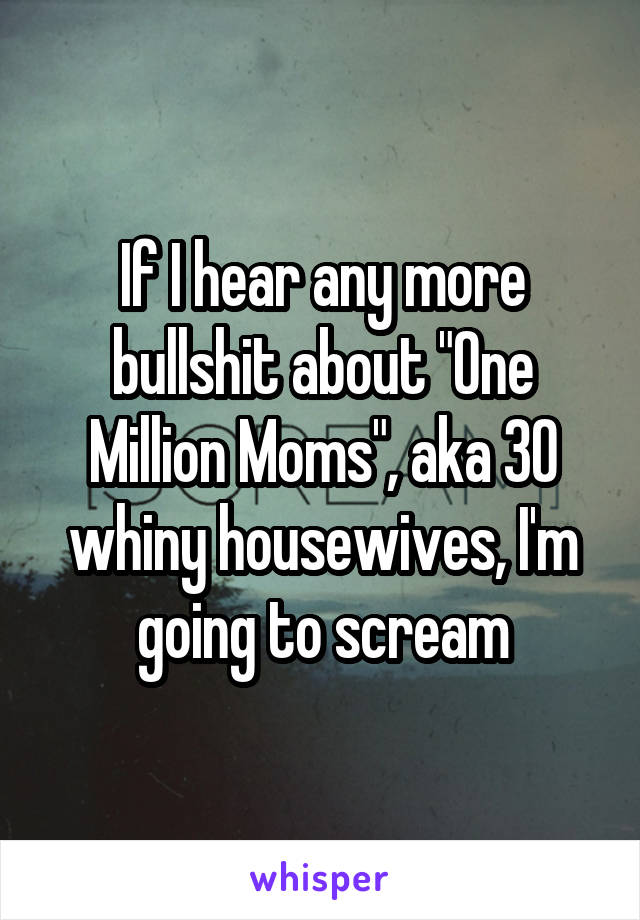 "If I hear any more bullshit about ""One Million Moms"", aka 30 whiny housewives, I'm going to scream"
