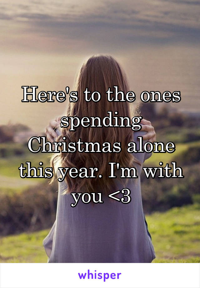 Here's to the ones spending Christmas alone this year. I'm with you <3