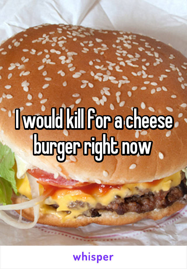 I would kill for a cheese burger right now