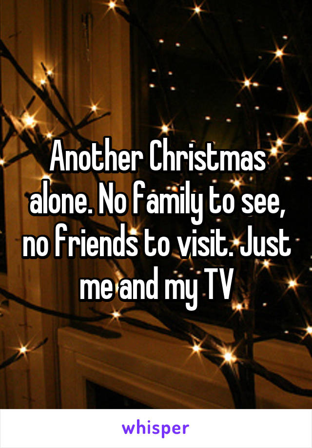 Another Christmas alone. No family to see, no friends to visit. Just me and my TV