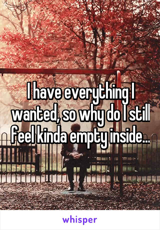 I have everything I wanted, so why do I still feel kinda empty inside...