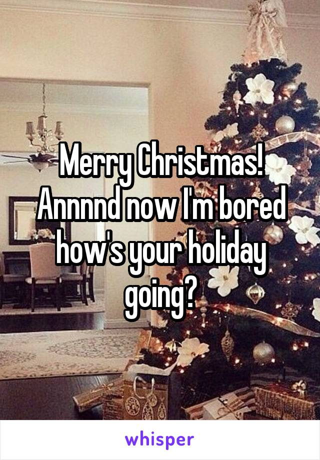 Merry Christmas! Annnnd now I'm bored how's your holiday going?