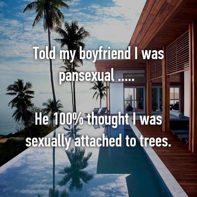 Told my boyfriend I was pansexual .....   He 100% thought I was sexually attached to trees.