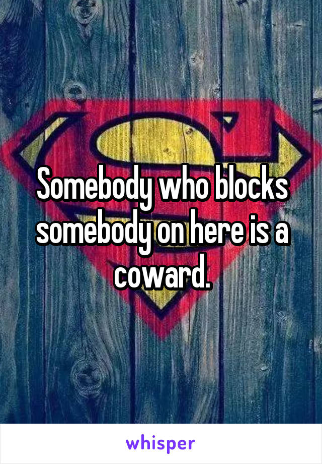 Somebody who blocks somebody on here is a coward.