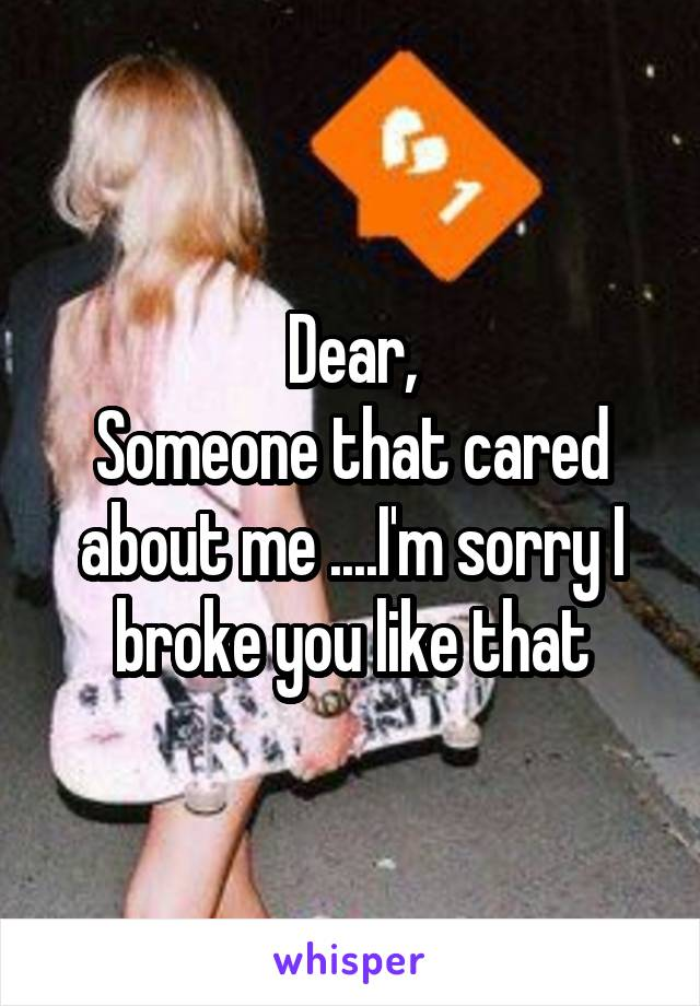 Dear, Someone that cared about me ....I'm sorry I broke you like that